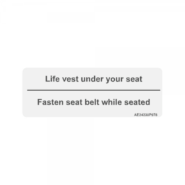 "Airline Placard ""Life Vest Under Your Seat"""