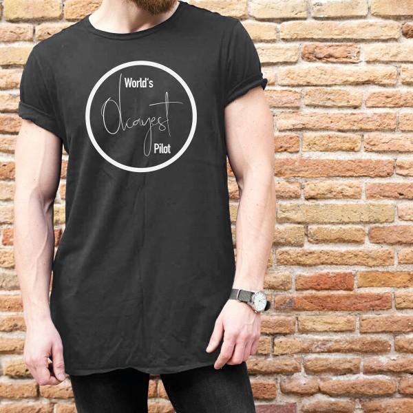 "Herren T-Shirt ""World's Okayest Pilot"" Grau"