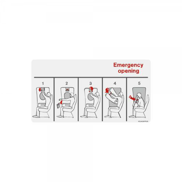 "Airline Placard ""Emergency Opening"""