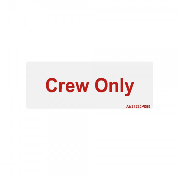 "Airline Placard ""Crew Only"""