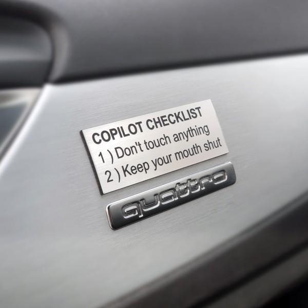 """Schild/Placard """"Copilot Checklist"""""""