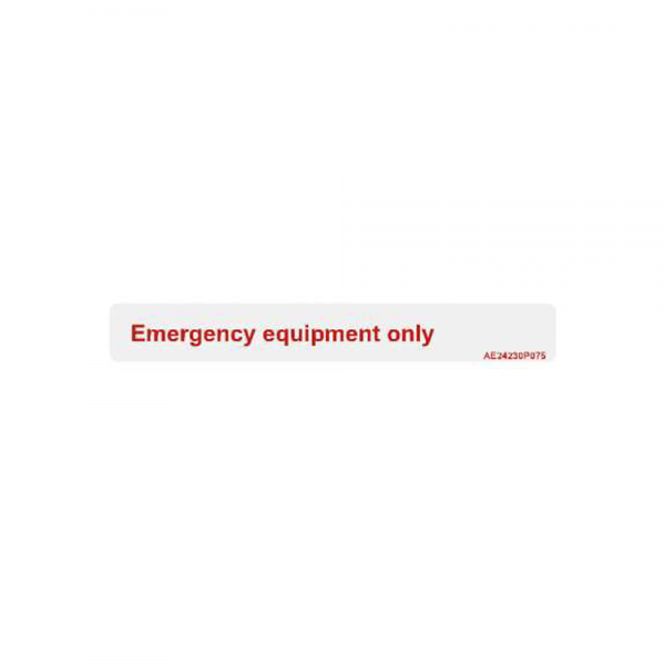 """Airline Placard """"Emergency Equipment Only"""""""