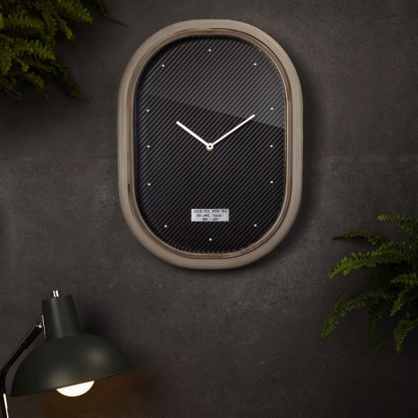 """Wanduhr """"Time Flies"""" - Carbon-Optik"""